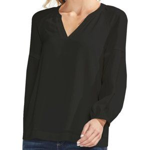 Vince Camuto Black Raglan Sleeve Split-Neck Blouse